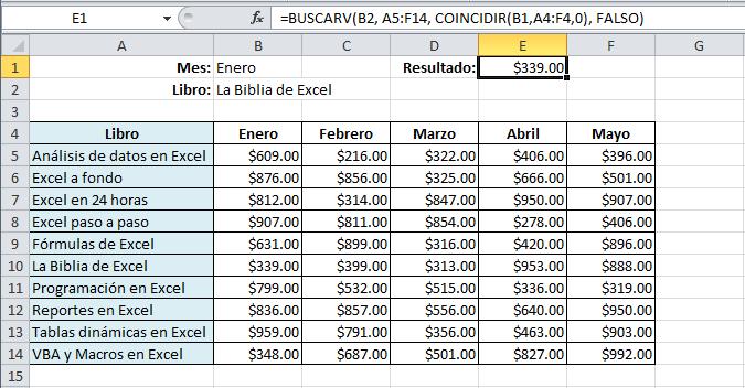 Buscar y coincidir en Excel 2010
