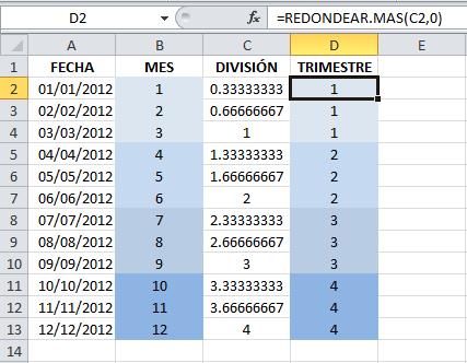 Calcular el número de trimestre en Excel