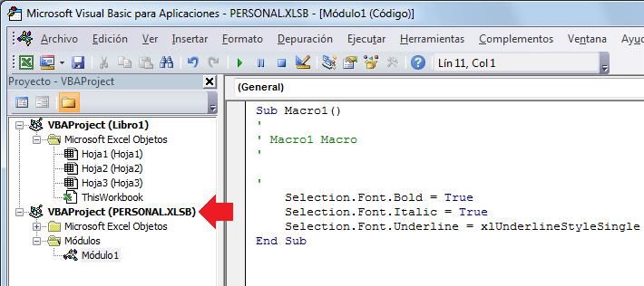 El libro de macros personal en el Editor de Visual Basic