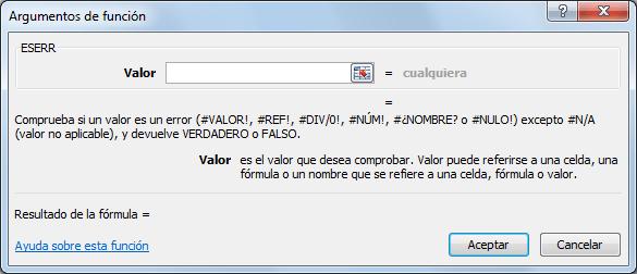 Sintaxis de la función ESERR en Excel