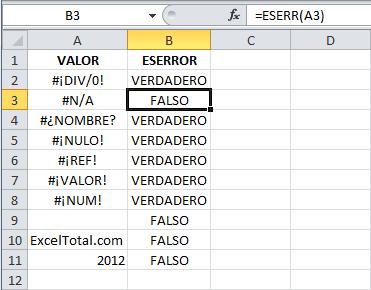 Ejemplo de la función ESERR en Excel