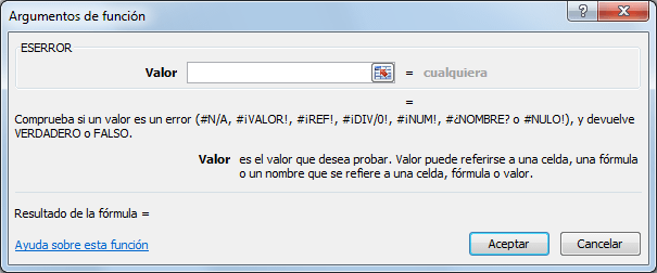 Sintaxis de la función ESERROR en Excel