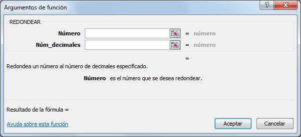 Sintaxis de la función REDONDEAR en Excel