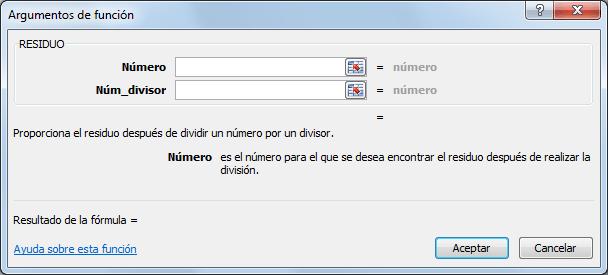 Sintaxis de la función RESIDUO en Excel