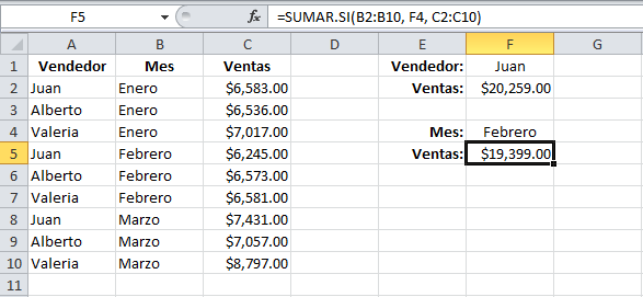 Especificar un rango de suma en la función SUMAR.SI en Excel