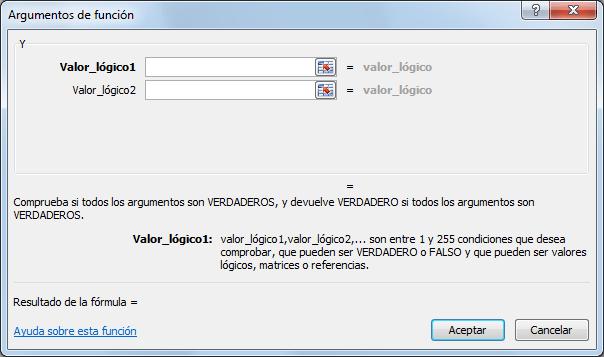 Sintaxis de la función Y en Excel