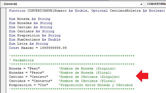 Código de la función para convertir números en letras