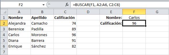 Ejemplo de la función BUSCAR en Excel