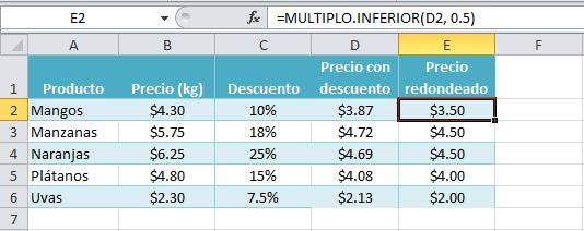 Resultado de la función MIULTIPLO.INFERIOR en Excel