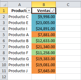 Sumar por colores en Excel 2010