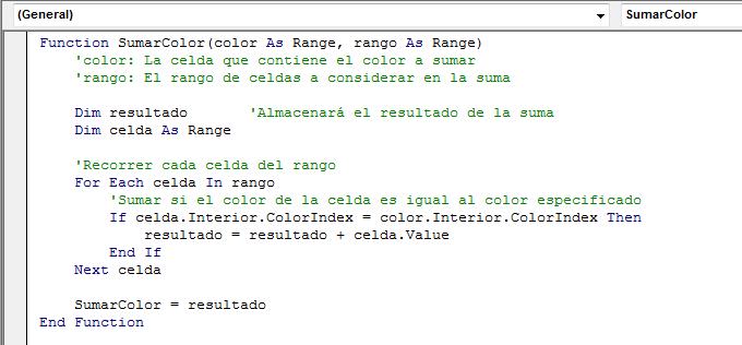 Sumar en Excel según el color de la celda