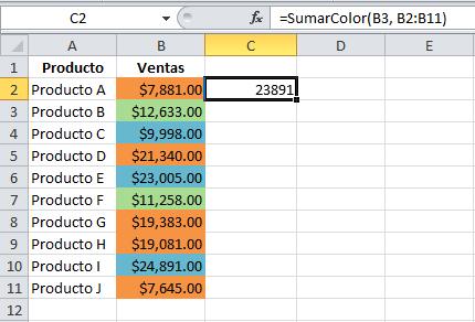 Cómo sumar celdas del mismo color en Excel