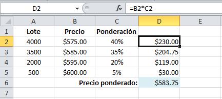 Promedio ponderado en Excel 2010
