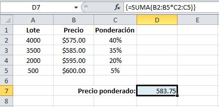 Promedio ponderado en Excel con funciones matriciales