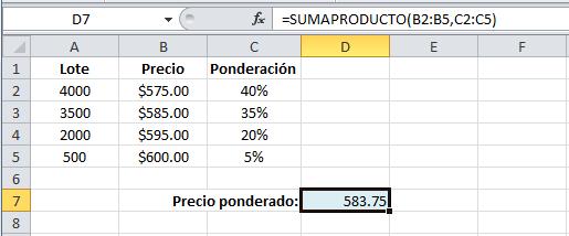 Promedio ponderado en Excel con la función SUMAPRODUCTO