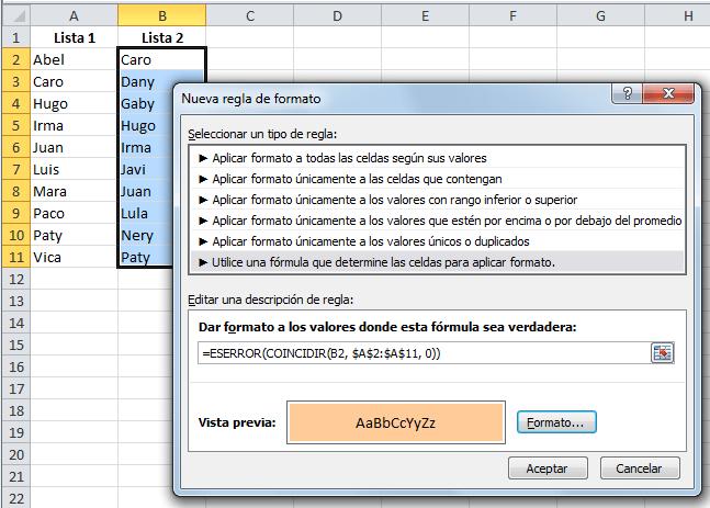 Ejemplos comparar listas en Excel