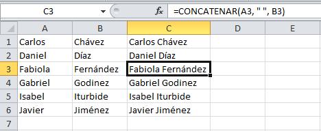 Cómo concatenar en Excel 2010
