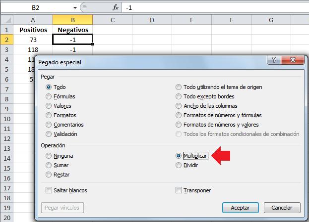 Convertir columna de números positivos a negativos en Excel