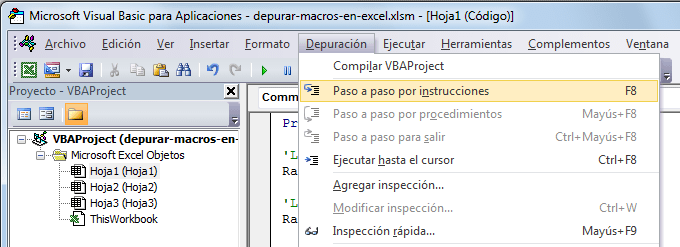 Depurar código VBA en Excel
