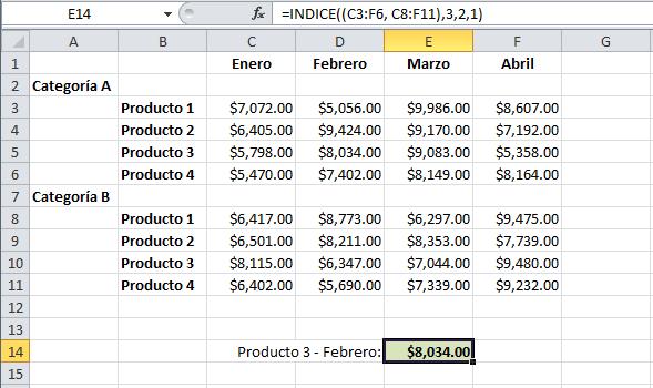 Ejemplo de la función INDICE en Excel en forma de referencia