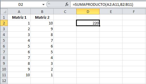 Ejemplo de la función SUMAPRODUCTO en Excel