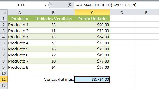 Total de ventas con la función SUMAPRODUCTO