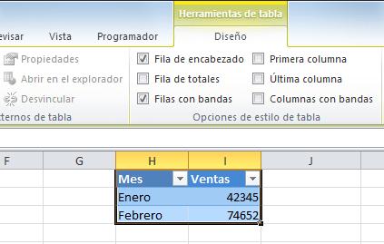 Ejemplos de fichas contextuales - Herramientas de tabla