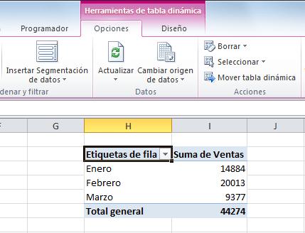 Ejemplos de fichas contextuales - Herramientas de tabla dinámica
