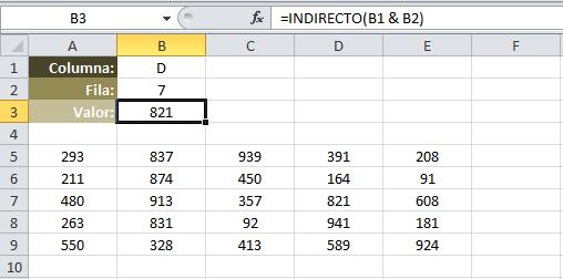 Crear una referencia con la función INDIRECTO