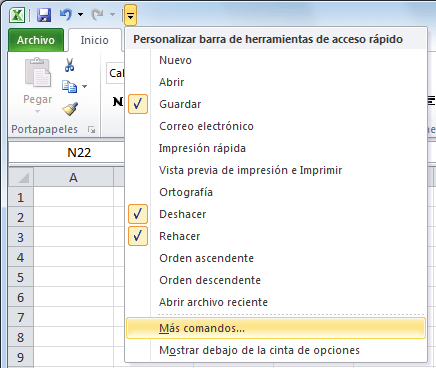 Pegar valores en Excel con el teclado