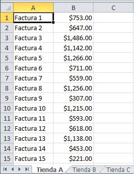 Datos para referencias dinámicas en Excel