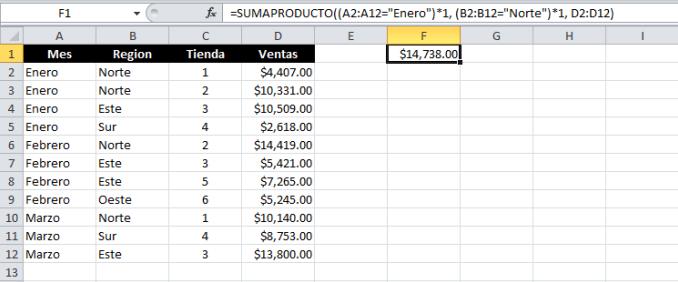 Sumar con varias condiciones en Excel con la función SUMAPRODUCTO