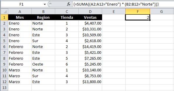 Contar con varias condiciones en Excel con la función SUMA