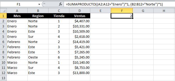 Contar con varias condiciones en Excel con SUMAPRODUCTO