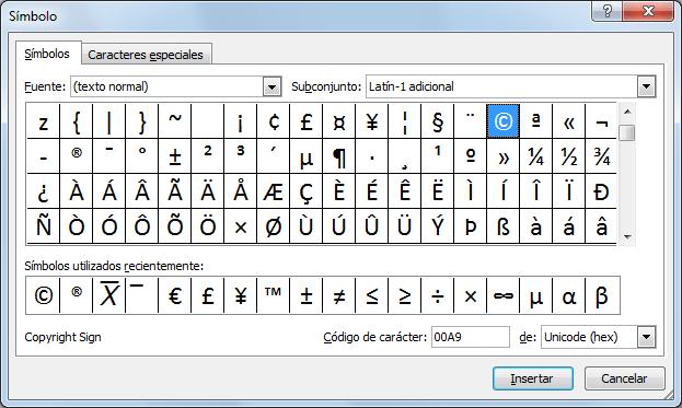 Tabla de símbolos en Excel