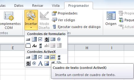 Cuadro de texto en Excel
