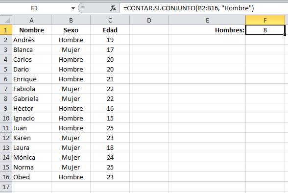 Ejemplo de la función CONTAR.SI.CONJUNTO en Excel