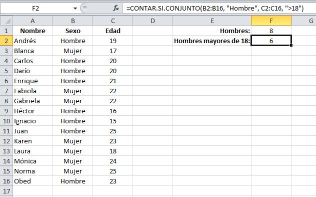 Contar con múltiples criterios en Excel