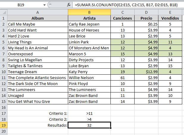 Múltiples criterios con SUMAR.SI.CONJUNTO en Excel