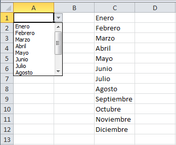 Lista desplegable en Excel 2010