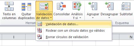 Comando validación de datos en Excel