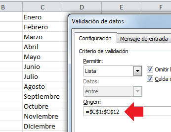 Origen de datos para lista desplegable