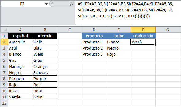 Equivalencia con la función SI anidada