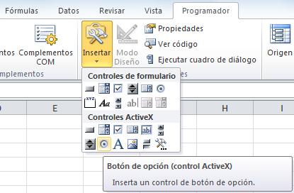El botón de opción en Excel
