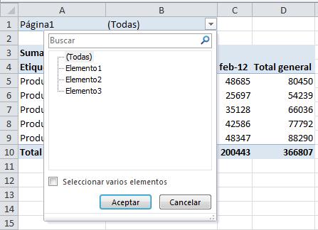 Filtro de tabla dinámica consolidada