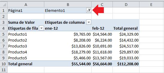 Tabla dinámica en Excel con datos consolidados
