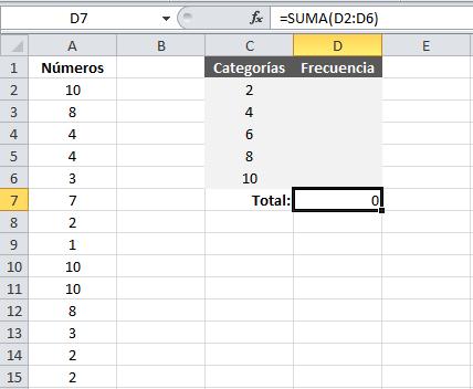 Ejemplo de distribución de frecuencias en Excel