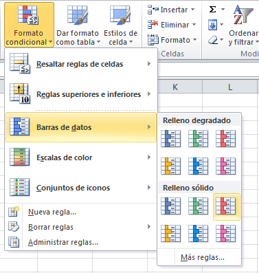 Barras de datos de Formato condicional