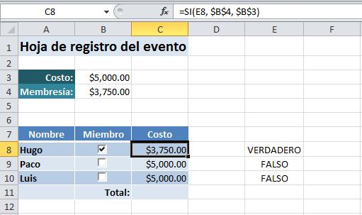 Casilla de verificación en Excel 2010