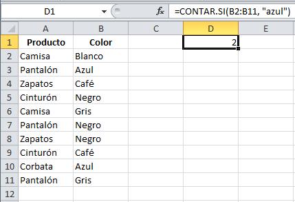 Ejemplo de la función CONTAR.SI en Excel